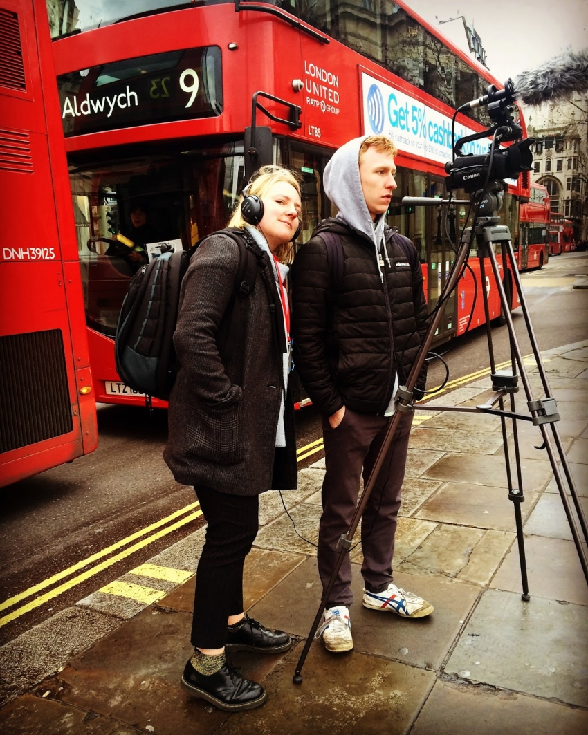Filming on the streets of London