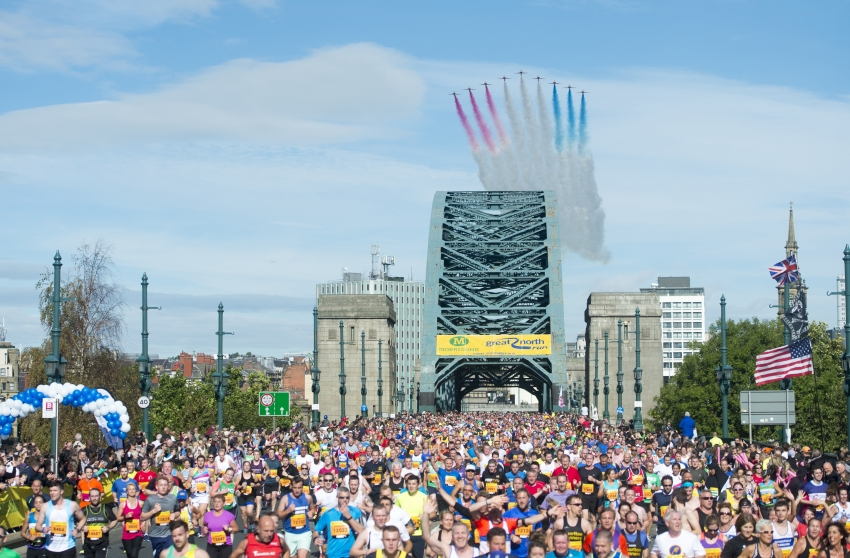 The Red Arrows are seen flying over the Tyne Bridge during the 2015 Morrisons Great North Run, Newcastle.